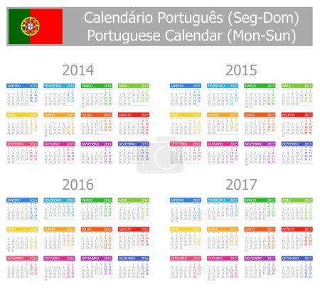 2014-2017 Type-1 Portuguese Calendar Mon-Sun