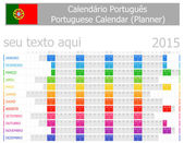 2015 Portuguese Planner Calendar with Horizontal Months on white background