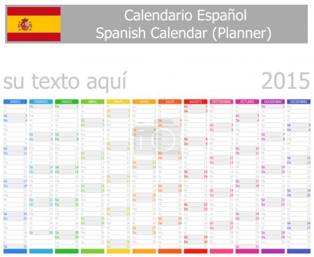 2015 Spanish Planner Calendar with Vertical Months