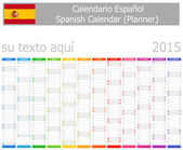 2015 Spanish Planner Calendar with Vertical Months on white background