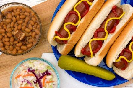 Photo pour Hot Dogs grillés avec des côtés d'été sur une table de pique-nique - image libre de droit