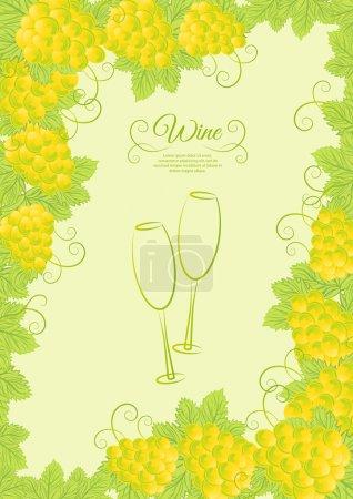 Illustration pour Conception de carte des vins, verres à vin abstraits - image libre de droit