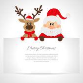 Santa Claus and reindeer greeting card