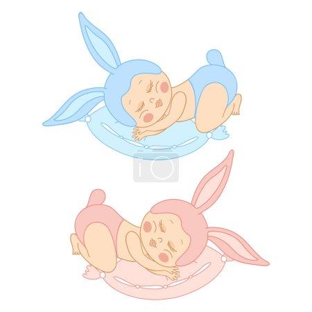 Small sleeping baby in bunny costume
