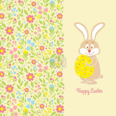 Easter card with blue flowers and a rabbit