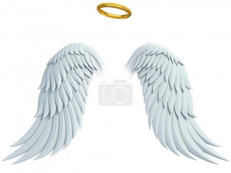 Photo pour Eléments de design Angel - ailes et halo doré isolés sur le fond blanc - image libre de droit
