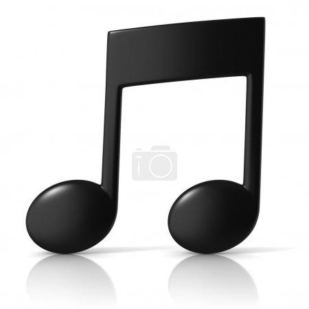 Photo pour Illustration 3D de l'icône de note de musique sur fond blanc - image libre de droit