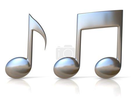 Photo pour 3D illustration d'icônes Remarque musique métallique sur fond blanc - image libre de droit