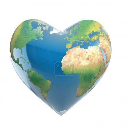 Photo pour 3D illustration du concept de l'amour de planète - terre isolée sur blanc en forme de coeur - image libre de droit
