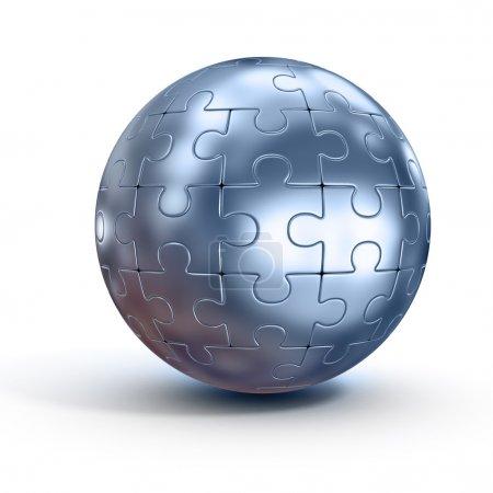 Photo pour Illustration 3D de puzzle sphérique - image libre de droit