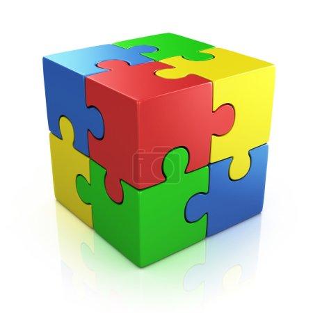 bunte kubische 3D-puzzle