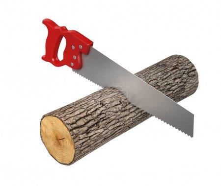 Saw cutting the wood