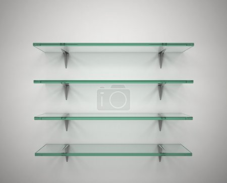 Empty glass shelves