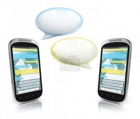 Messaging, texting, chatting 3d concept - two cell phones with speech bubbles