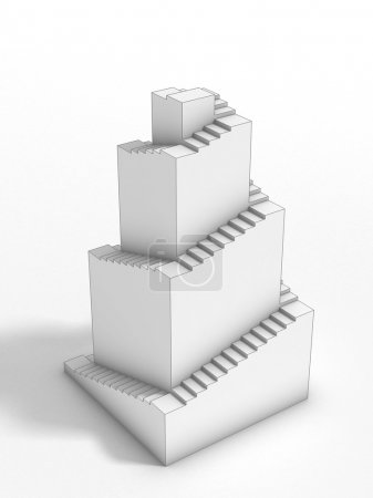 3d ziggurat structure with stairs
