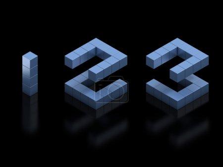 Kubische 3D-Schrift Zahlen 1 2 3