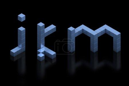 kubisch 3d Schriftbuchstaben j k m