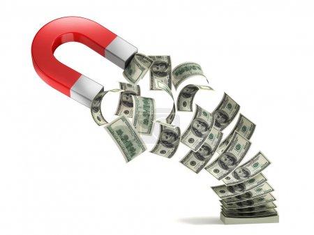 Photo for Money magnet 3d concept illustration - Royalty Free Image