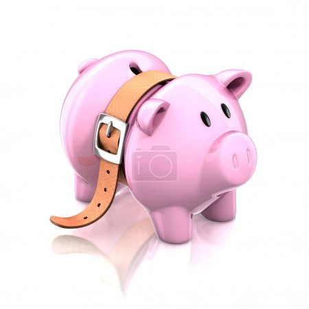 Piggy bank with tighten belt