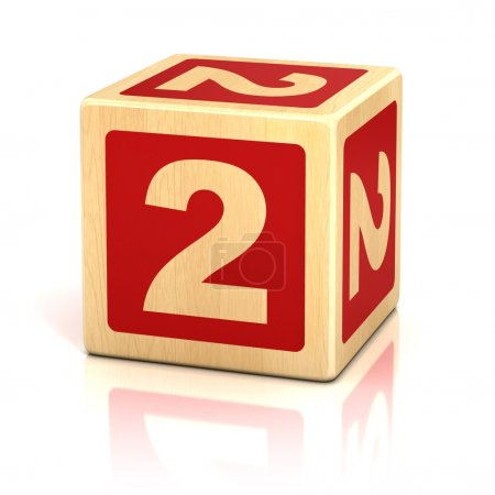 Number two 2 wooden blocks font