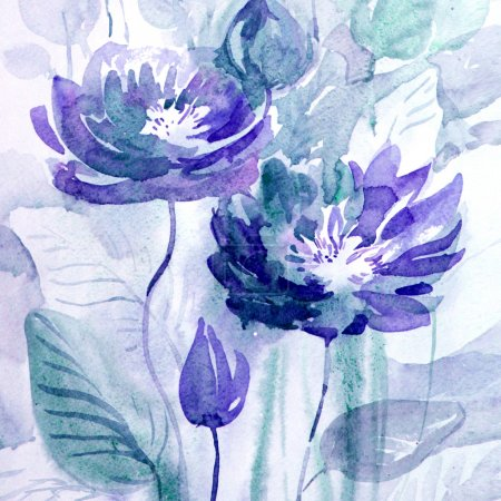 Photo pour Lotos aquarelle bleu - image libre de droit