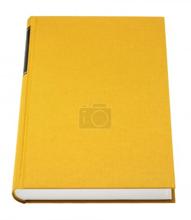 Photo for Yellow book isolated on white, black frame for title on the spine, fabric cover - Royalty Free Image