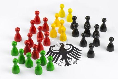 Photo pour Jeu chiffres avec aigle fédéral qui symbolisent les principaux partis politiques en Allemagne. - image libre de droit