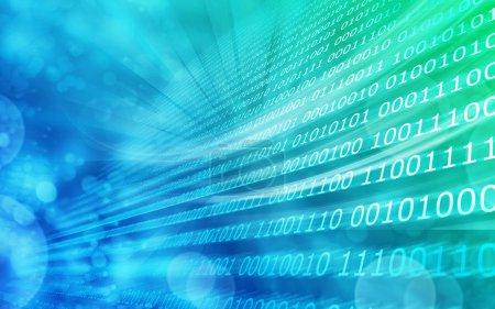 Photo pour Fond bleu vert code binaire zéro & un - image libre de droit