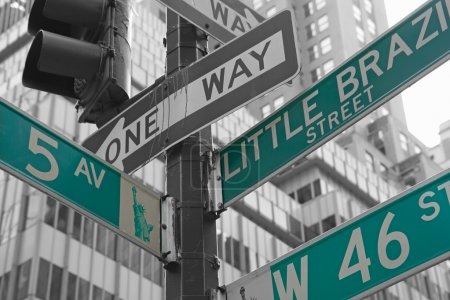 Street signs for Fifth Avenue and West 46nd street in NYC