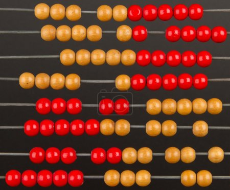 Close-up of an old abacus on a grey background