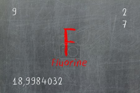 Isolated blackboard with periodic table, Fluorine