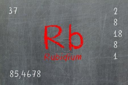 Isolated blackboard with periodic table, Rubidium