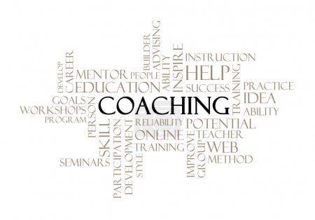 Photo for Coaching concept related words in tag cloud isolated on white - Royalty Free Image
