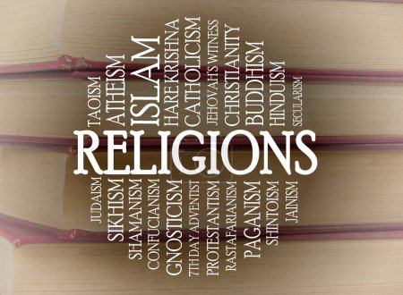 Photo for Religions word cloud with a books background - Royalty Free Image