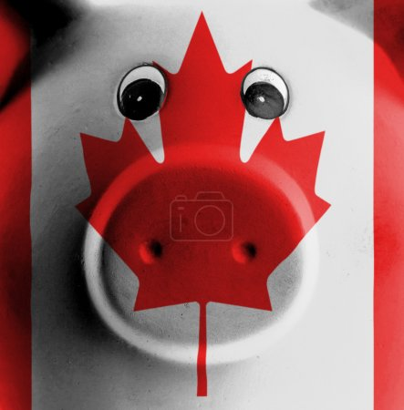 Photo for Ceramic piggy bank with painting of national flag, Canada - Royalty Free Image