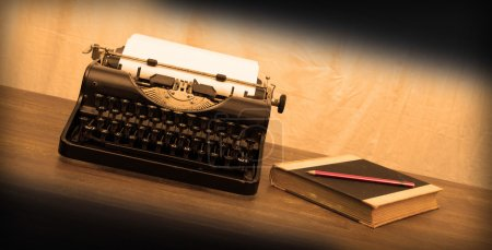 Photo for Vintage typewriter and old books, touch-up in retro style - Royalty Free Image