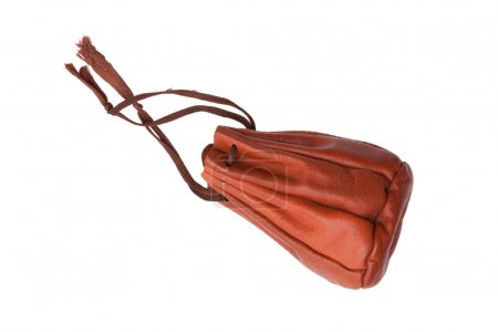 Old brown leather pouch