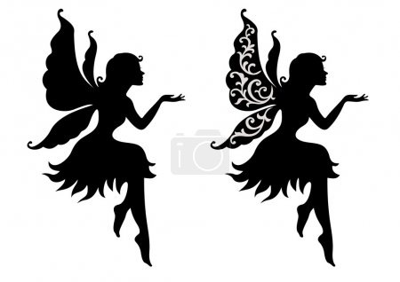 Illustration for Silhouette girl with wings - Royalty Free Image