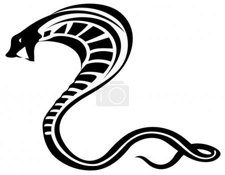 Illustration pour Illustration vectorielle de silhouette de serpent cobra noir - image libre de droit