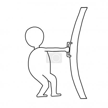 Man opens a door