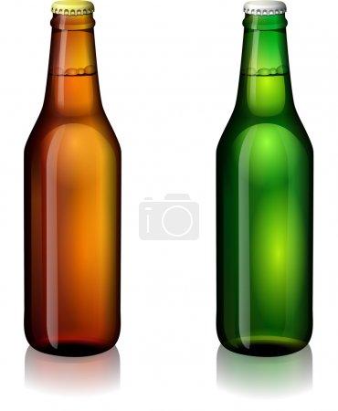 Illustration pour Bouteilles de bière vertes et brunes sur fond blanc - image libre de droit