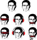 Man's face in different versions