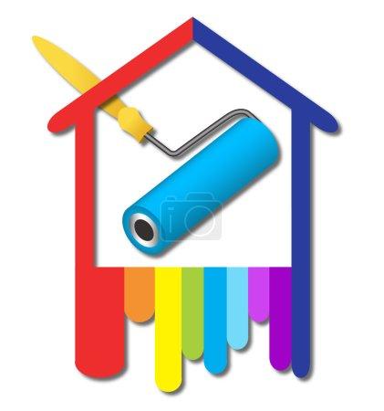 Illustration pour Logo Design pour les entreprises, peinture, construction - image libre de droit