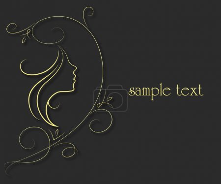 Illustration for Profile of girl and floral pattern for the vector - Royalty Free Image