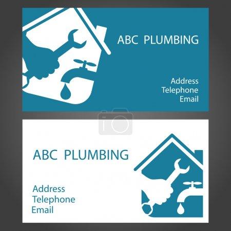 Illustration pour Cartes de visite design pour la plomberie et le travail - image libre de droit