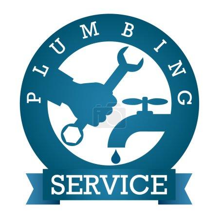 Illustration pour Symbole service de plomberie pour silhouette vectorielle - image libre de droit