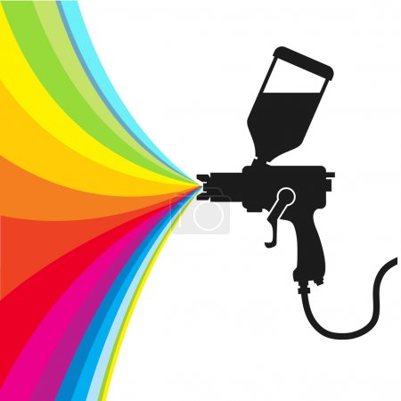 Illustration for Silhouette gun spray paint color, vector - Royalty Free Image