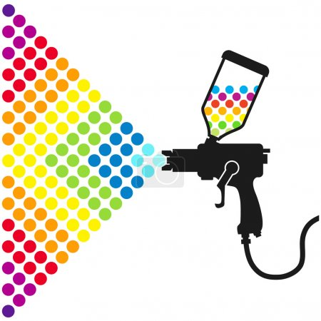 Illustration for Gun sprays a paint color for the vector - Royalty Free Image