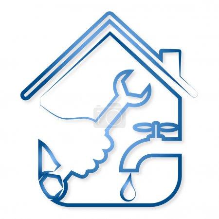 Illustration pour Conception pour réparer la plomberie vecteur de la maison - image libre de droit