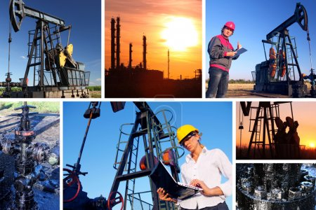 Photo for Workers in an Oil field, split screen - Royalty Free Image